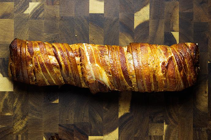 smoked bacon wrapped pork tenderloin